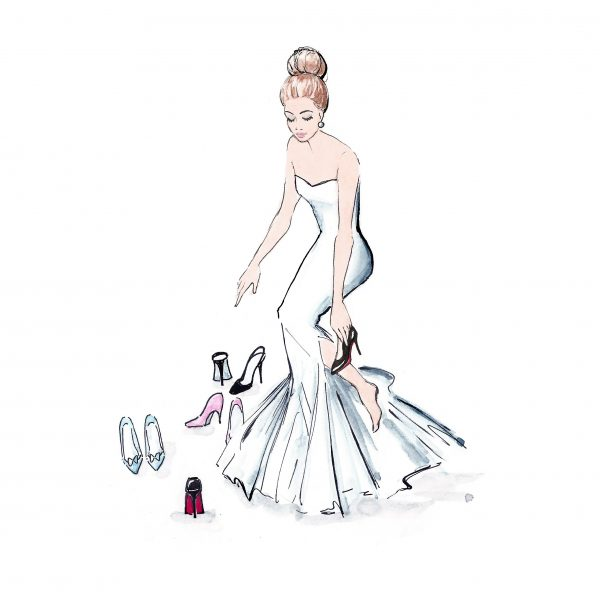 Fashion illustration 'Fitting the shoe'