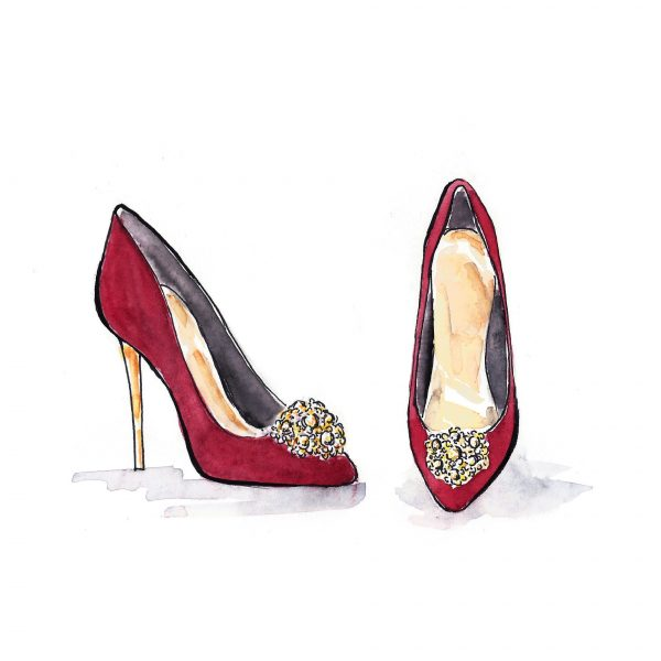 Fashion illustration 'Red shoes'