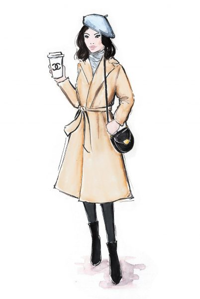 Fashion illustration 'Coffee to go in style'