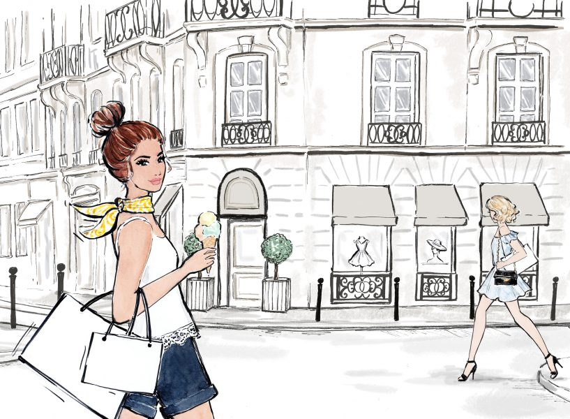 Shopping in Paris Illustration