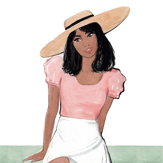 Watercolor fashion illustration with a straw hat