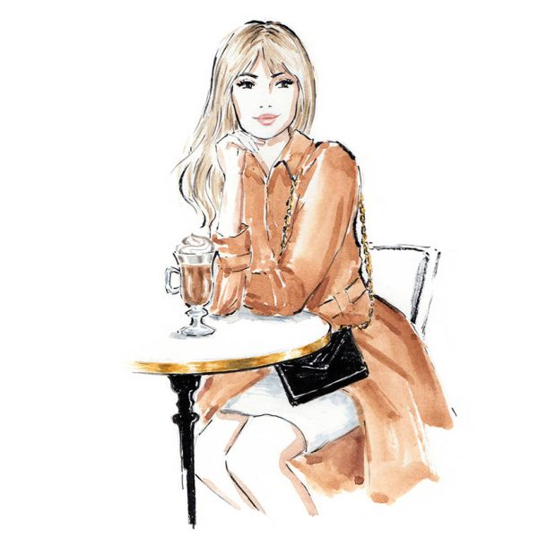 French Café fashion illustration