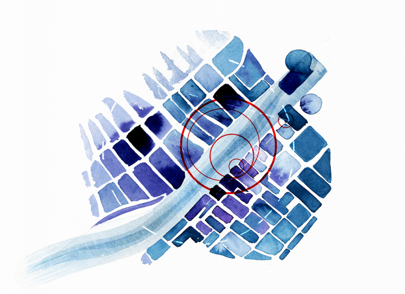 Abstract Map in Blue // editorial illustration for Tactical Tech, info activism