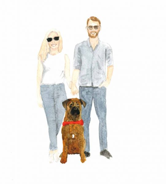 Couple with big brown dogs