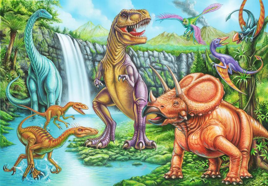 Dinosaur and Bird Scene