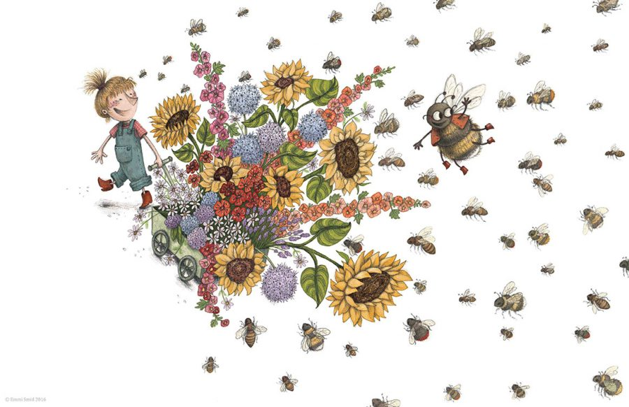 A page from the picture book Bessi's Bees