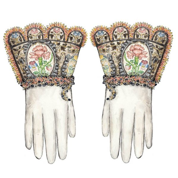 Historical gloves with embroidery