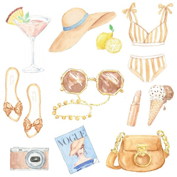 Fashionable summer items in watercolor