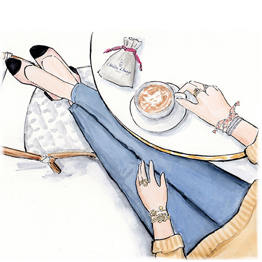 French jewelry illustration | coffee at a bistro