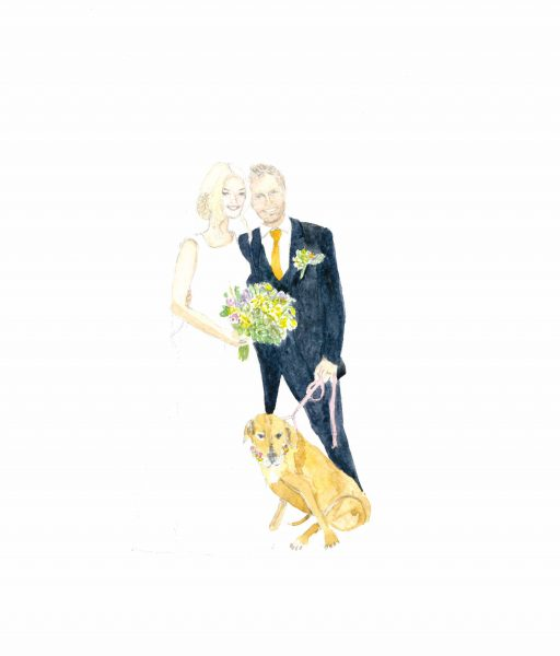 wedding couple and dog