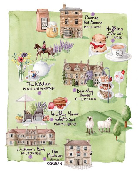 Map of Cotswold Tearooms for Britain Magazine