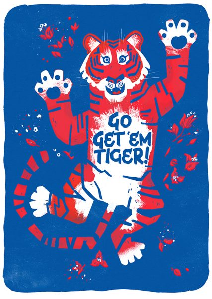 Chris Dickason Go Get 'Em Tiger! Greetings Card Illustration