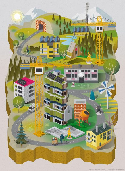 JM - housing and residential development in Scandinavia - annual business illustration