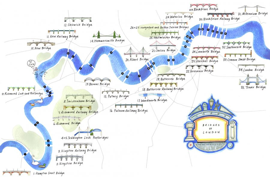 Bridges of London map commissioned by The AA in conjunction with Londonist