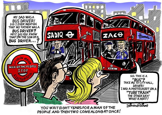 Cartoon about Sadiq Khan and Zac Goldsmith