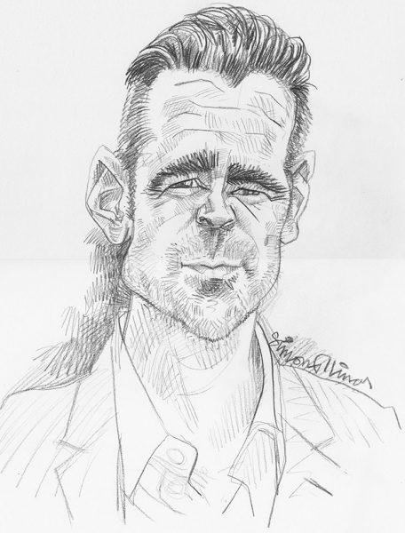 Pencil-Sketch-Caricature-of-Colin-Farrell