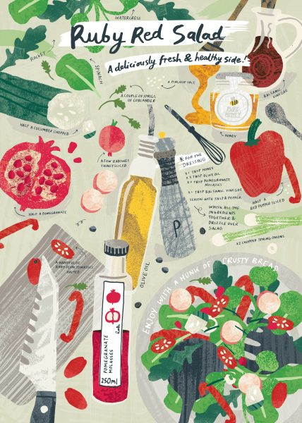 Ruby red salad Recipe Illustration Melanie Chadwick