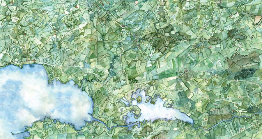 Seamus Heaney illustrated watercolour Map a