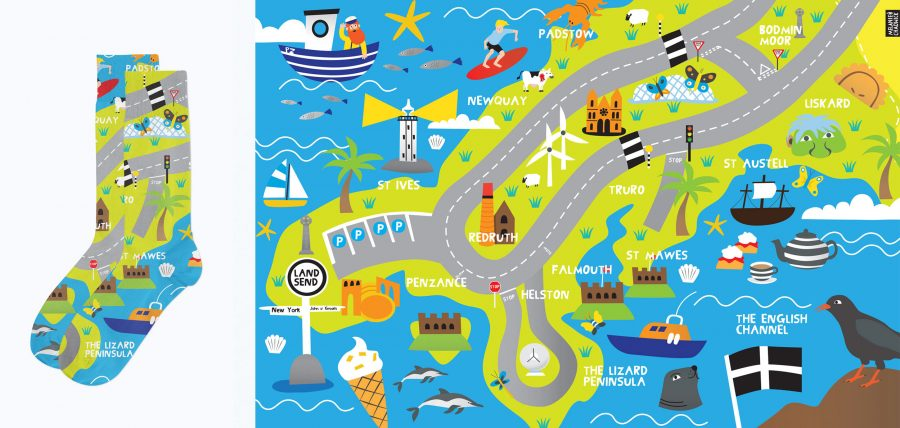 Hippo Mat Socks Cornwall map illustration Melanie-Chadwick