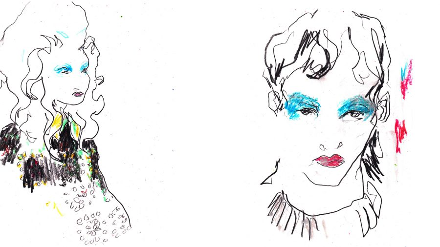 Ashish backstage live drawings commissioned by Evening Standard