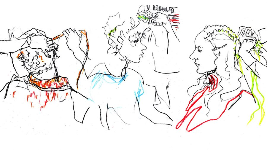 Bethany Williams backstage live drawings commissioned by Evening Standard