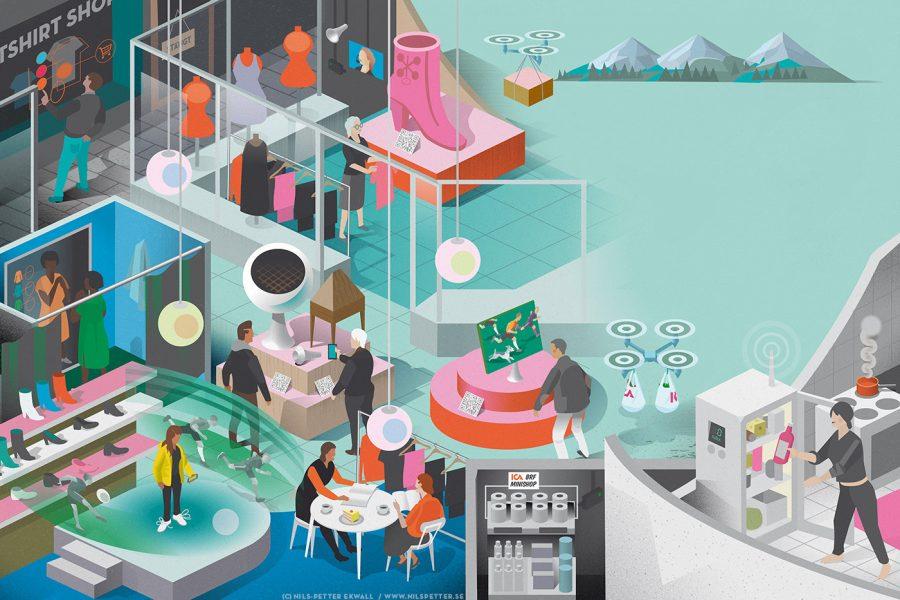 Future of retail editorial illustration