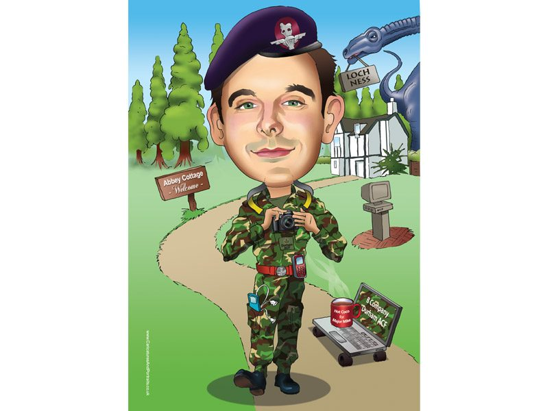 Army figure portrait caricature