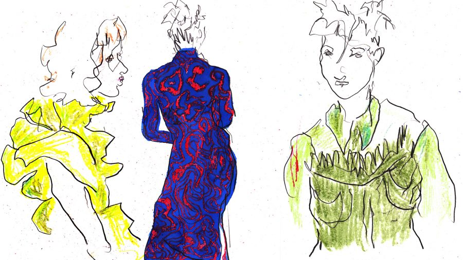 Richard Malone backstage live drawings commissioned by Evening Standard