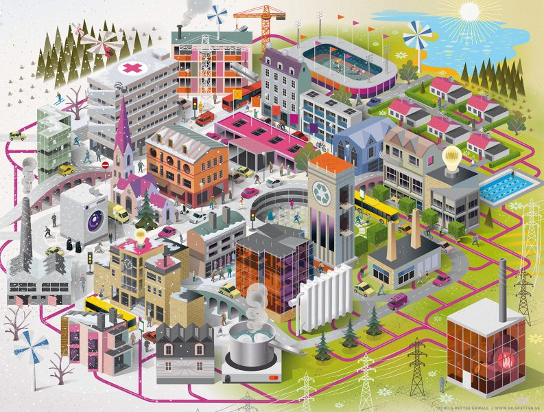 Swedish District Heating Association. Illustration for the Swedish District Heating Association's project to explain and highlight the benefits of a sustainable, low-carbon and ecological sound heating industry - included a detailed cityscape showing the city-wide district heating network