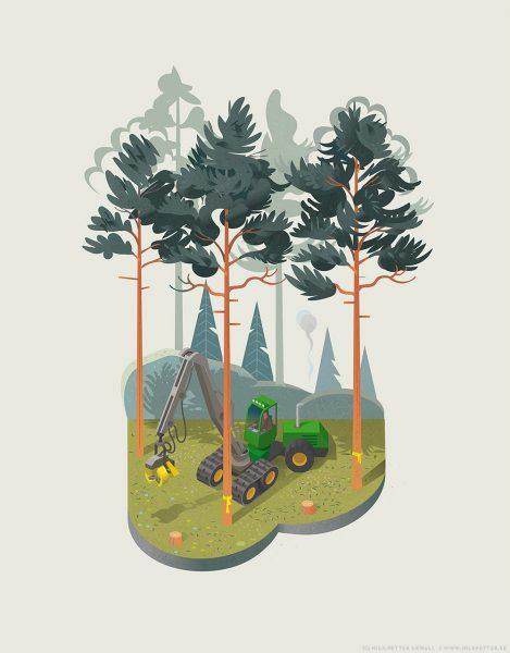 Sveaskog - sustainable forestry illustration