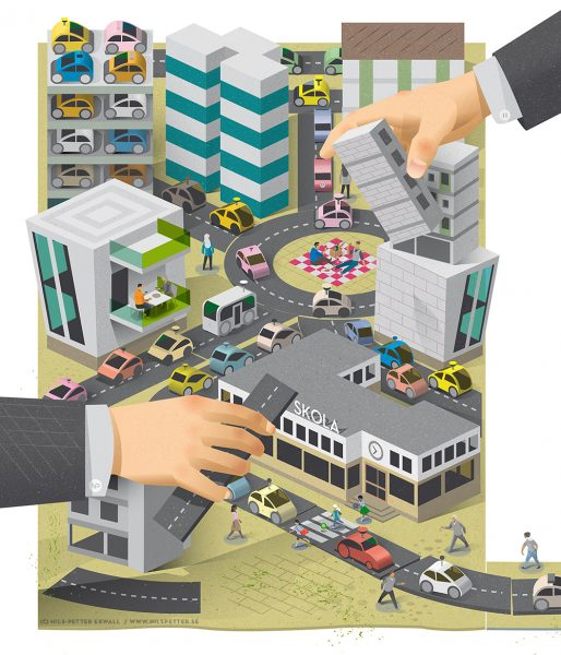 Illustration for Volkswagen about autonomous cars and urban planning