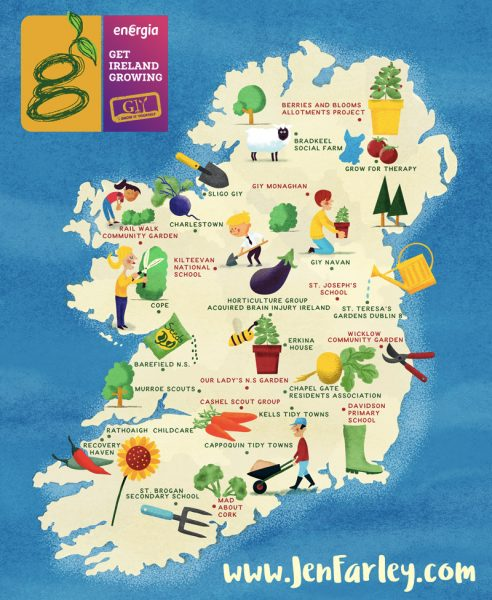 Get Ireland Growing Map illustrated by Jennifer Farley