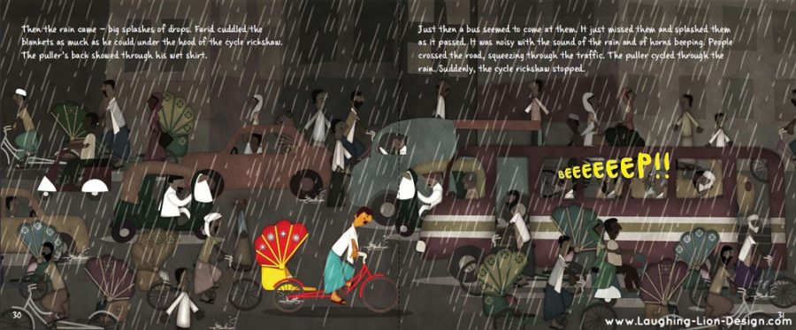 Farid's Rickshaw Ride Children's Book illustrated by Jennifer Farley
