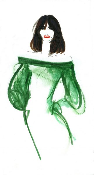 Green dress fashion illustration