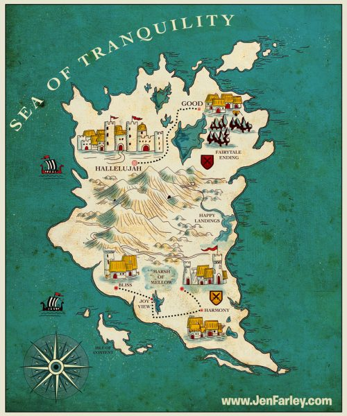 Fantasy Map of Happiness by Jennifer Farley