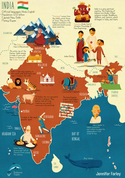 Map of India Illustrated by Jennifer Farley