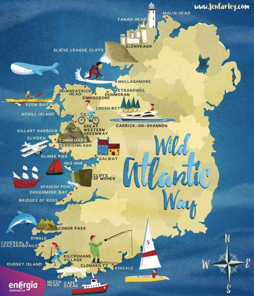 Wild Atlantic Way Ireland Map by Jennifer Farley