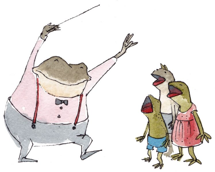 toad and kids singing