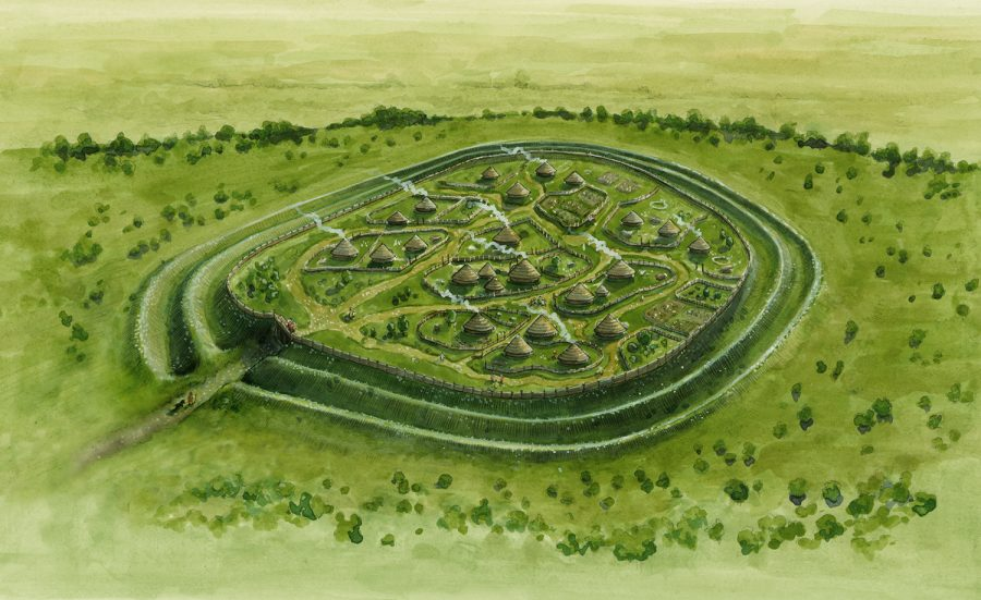 Archaeological reconstruction illustration of Cadbury Camp Hill Fort in the Late Iron Age. #archaeology. www.jennieanderson.co.uk