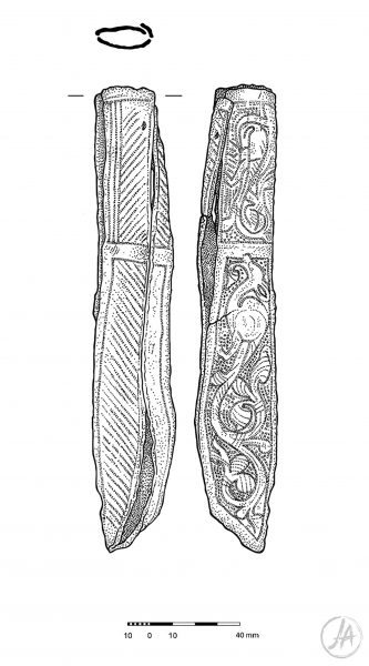 Archaeological finds illustration of a medieval tooled leather knife sheath. #archaeology www.jennieanderson.co.uk