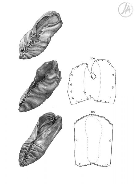 Archaeological finds illustrations of prehistoric, medieval and modern leather shoes. #archaeology www.jennieanderson.co.uk