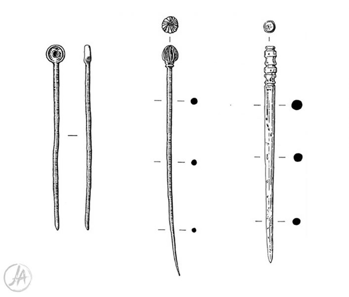 Archaeological finds illustration of three Roman bronze and bone hair pins. #archaeology www.jennieanderson.co.uk