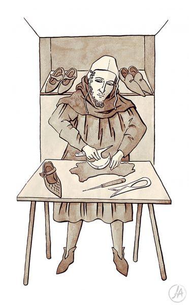 Medieval shoemaker, based on medieval manuscript illustrations. www.jennieanderson.co.uk