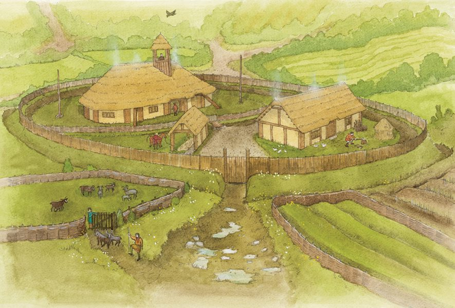 Archaeological reconstruction illustration of an 11th century theign's residence in North Somerset. #archaeology. www.jennieanderson.co.uk
