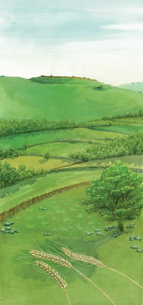 Archaeological reconstruction illustration of Barbury Castle hillfort in the late Iron Age. www.jennieanderson.co.uk #archaeology