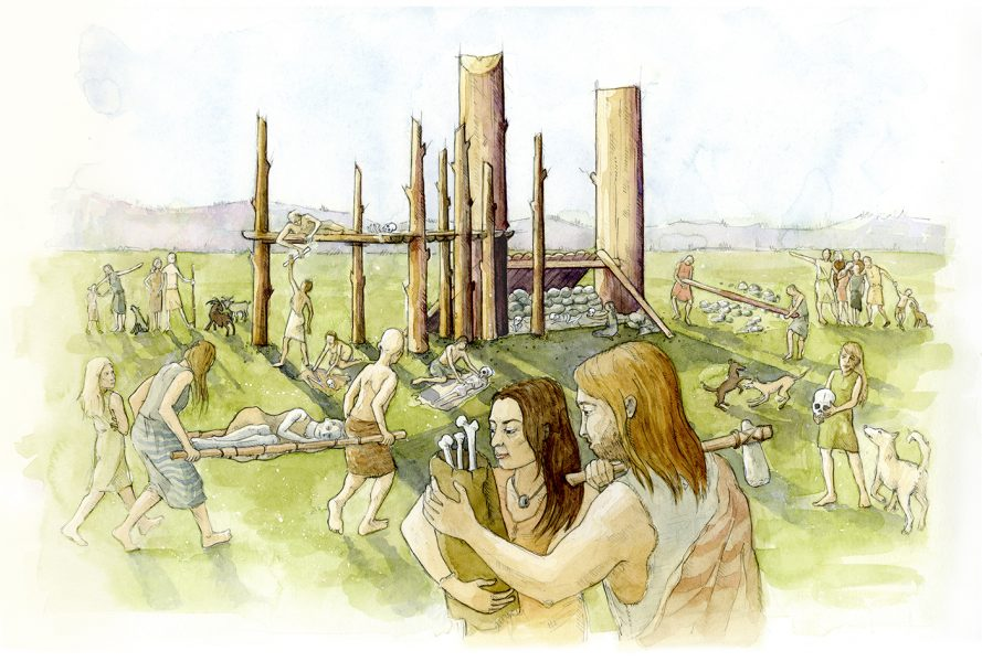 Archaeological reconstruction illustration showing the first mortuary structures at Wayland's Smithy 1. www.jennieanderson.co.uk #archaeology