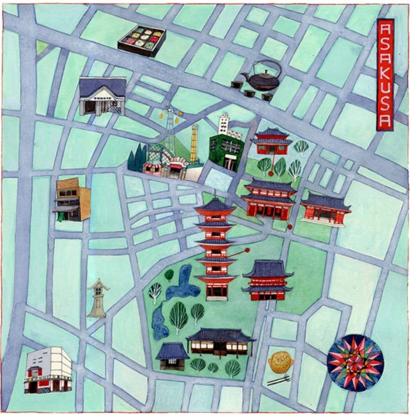 A map of Asakusa in Tokyo