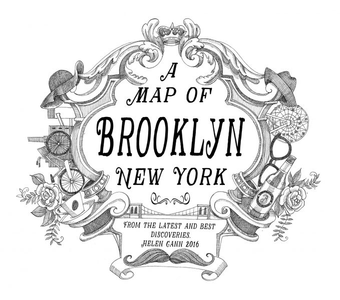 Cartouch for a map of Brooklyn, New York.