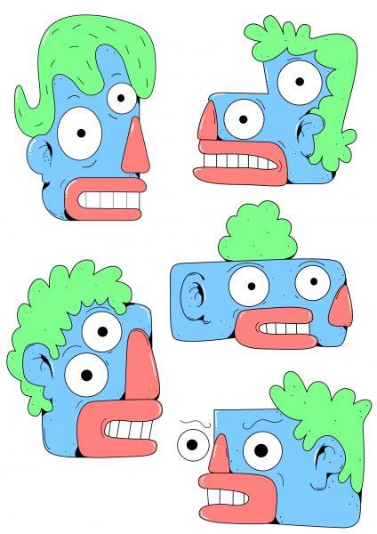 Blue faces.
