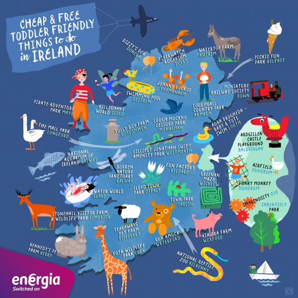 Toddler-friendly things to do - Map of Ireland